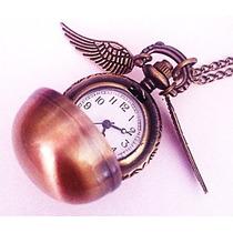 Collar Reloj Snitch Dorada Harry Potter Igo Coleccionables!