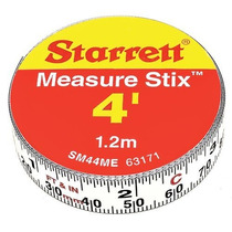 Starrett Medir Stix Sm44me Acero Cinta Métrica Blanco Con Ad