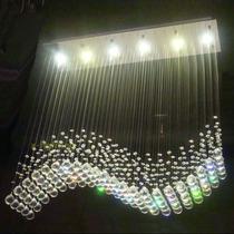 Lampara De Cristal En Forma De Onda De Luz Led Para Techo