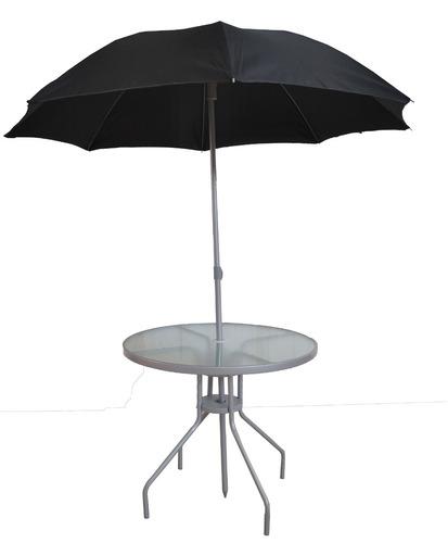 Mesa con sombrilla y sillas plegables color negro de acero for Precio de sombrillas