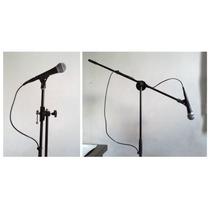 Atril Micrófono C/boom Y Pesa, Negro, Ajustable C/2 Pinzas