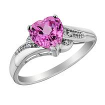 Creado Promise Ring Corazón Zafiro Rosa Con Diamantes 7/8 C