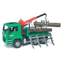 Bruder Toys Hombre Camión Madera Con Grúa De Carga Y 3 Trunk