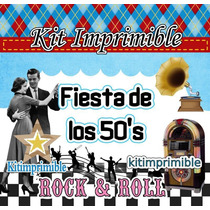 Kit Imprimible Fiesta De Los 50s Rock And Roll + Candy Bar