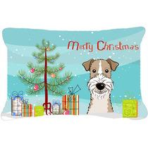 Árbol De Navidad Y Cabelludo Del Alambre Fox Terrier Tela A