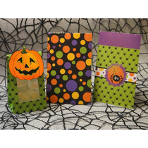Halloween Kit Dulceros Bolsita Caja Cartón Calabaza Araña