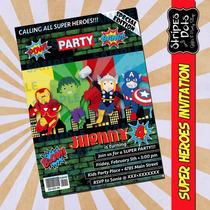 Invitaciones Avengers-invitaciones Super Héroes-invitaciones