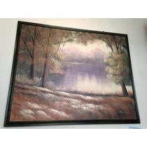 Pintura Al Oleo De Un Lago