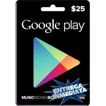 Tarjeta Gift Card Google Play $25 Usd Juegos Apps Android