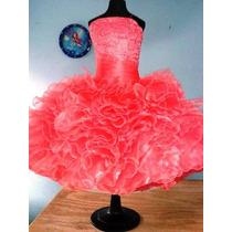 Vestido De Escarolas Para Salida De Sexto Año. Color Coral