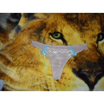 Pantaletas Bikinis Tanga Brillosa Encaje Transparente