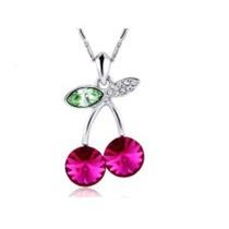 Swarovski Elements Collar Dije Cereza Rosa Joyeria