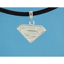 Dije Superman 2 Fina Plata 925 Con Caucho 50 Cm A10-2