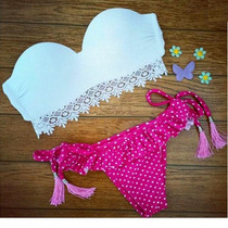 Bellisimo Bikini Blanco/rosa Corte Brasileño Push Up..