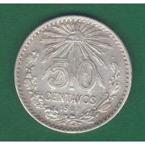 50 Centavos 1907 Plata México Presidente Porfirio Díaz - Hm4