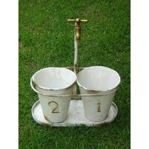 Maceta Doble Con Llave De Agua Tina Vintage Planta Macetero
