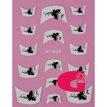 Sticker Uñas Frances 3d Set 4sobre Xf824,xf826,xf827,xf828