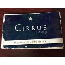 Manual De Propietario Chrysler Cirrus 1998 Original