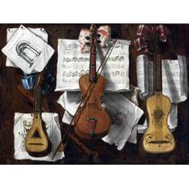 Lienzo Tela Pintura Violín Guitarras Flauta Y Notas Música