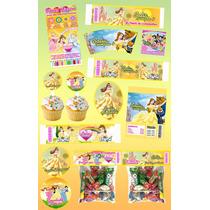 Kit Imprimible Bella Y La Bestia Personalizado 30 Etiquetas