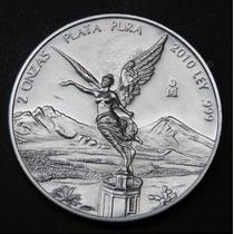 Ganga Moneda 2 Onzas Libertad Plata Ley .999 Año 2010 Escasa