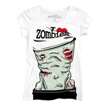 Playera Marca Masca De Latex Para Dama Mod: I Love Zombies