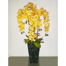 Flor Orquídeas Artificiales Amarillas Con Maceta Plantas