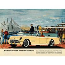 Lienzo En Tela Anuncio Automóvil Corvette1954 50 X 70 Cm