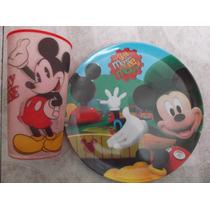 Set Plato Y Vaso Mickey Mouse Fiesta Recuerdo Melamina