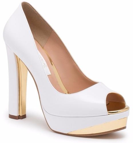 zapatillas andrea blancas dorado charol tacón ancho novias en venta