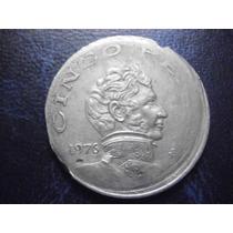 Mexico 5 Pesos Vicente Guerrero Manipulada Fecha 1976 Niquel