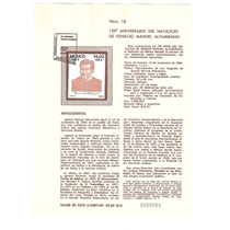 Hoja Primer Día 1984 Ignacio Manuel Altamirano Artista Vbf