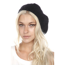 Hot Topic Gorro Negro Black Crochet Knit Beret Boina