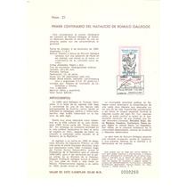 Hoja Primer Dia 1984 Romulo Gallegos Artista Dibujo Lápiz