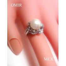 Anillo 24 Diamantes Y Perla Natural 10mm En Plata Paladio