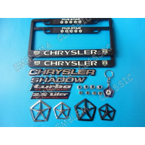 Emblemas Chrysler Shadow Porta Placas Llavero Pivotes Kit