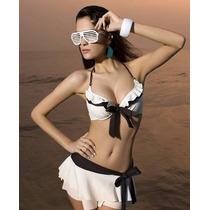 Trikini Bikini Falda Marfil Café Talla Xl Traje De Baño Dama