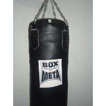 Costal Boxeo 1.10 Alto En Piel Con Cadena Marca Meta