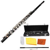 Flauta Transversal Negra Traversa Estuche Orificio Cerrado
