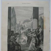 Litografia (23x31 Cms): Juegos De Jóvenes Griegas. Mundo.