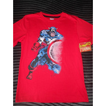 Playera Capitán América Marvel Para Niño Talla 14
