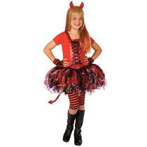 Disfraz Vestido Diablita Diabla Tutu Niña Talla 8 A 10 Años