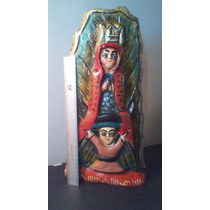 Virgen Gadalupe Madera Tallada Pintada 45x15cm