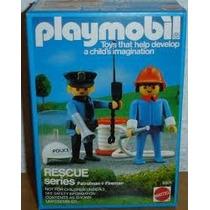 Playmobil Set 9805 Mattel Policia Y Bombero Rescate De 1984