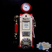 Telefono Vintage Bomba Despachador Gasolina Roja Con Reloj