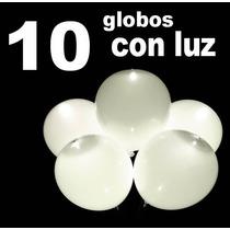 10 Globos Con Luz Led Blancos Decoracón Boda Fiestas Eventos