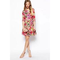 Suku 90847 Vestido Floreado Cuello Redondo Moda Japón $659