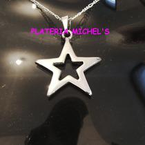 Dije Estrella Calada Mediana En Plata Ley 0.925