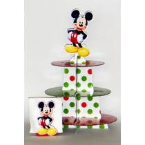 Base Cupcakes Y Servilletero Dulcero Infantil Fiesta Mickey