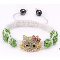 Pulsera Shamballa Con Cristales Tipo Swarovsk Kitty Verde